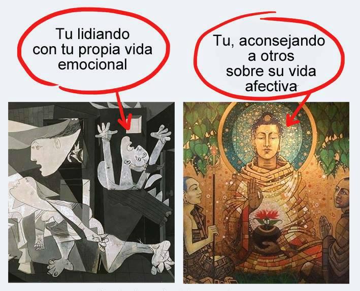 Lidiando con tu propia vida emocional: Guernica de Picasso. Aconsejando a otros sobre su vida: paz zen.
